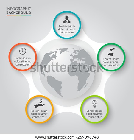 Vector circle elements for infographic. Template for cycling diagram, graph, presentation. Business concept with 5 options, parts, steps or processes. Abstract background - stock vector