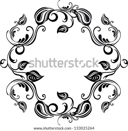 Vector circle floral and ornate frame - stock vector