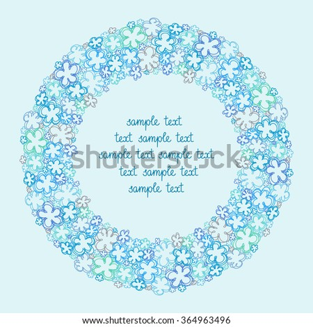 Vector Circle Flower Frame Simple Original Border With Text Box Cute Floral Hand Drawn