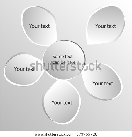 Vector circle flower infographic. Paper flower  with petals for text. Abstract background.