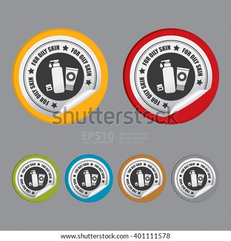 Vector : Circle For Oily Skin Product Label Infographics Flat Icon, Peeling Sticker, Sign  - stock vector