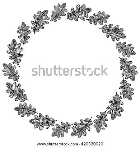 vector circle frame wreath made oak stock vector royalty free