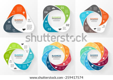 Vector circle geometric infographics set. Template for cycle diagram, graph, presentation and round chart. Business concept with 3, 4, 5, 6, 7, 8 options, parts, steps or processes.  - stock vector