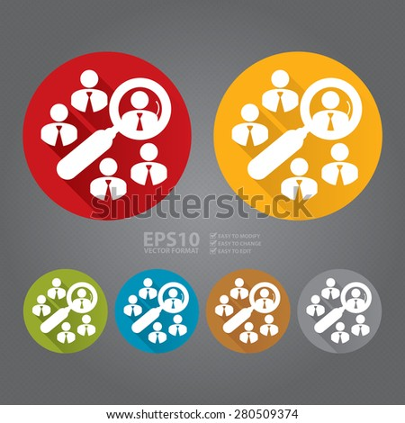 Vector : Circle Group of Businessman With Magnifying Glass Long Shadow Style Icon, Label, Sticker, Sign or Banner  - stock vector