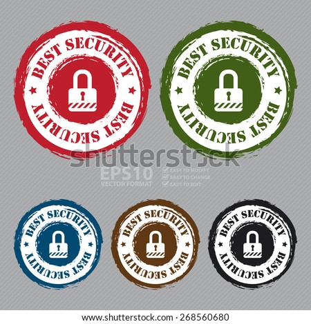 Vector : Circle Grungy Best Security Stamp, Sticker, Icon or Label - stock vector