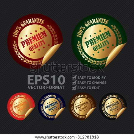 Vector : Circle 100% Guarantee Premium Quality Infographics Peeling Sticker, Label, Icon, Sign or Badge - stock vector