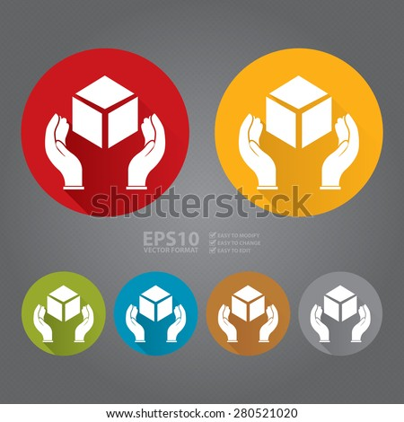 Vector : Circle Handle With Care, Do Not Drop, Hand With Box Flat Long Shadow Style Icon, Label, Sticker, Sign or Banner  - stock vector