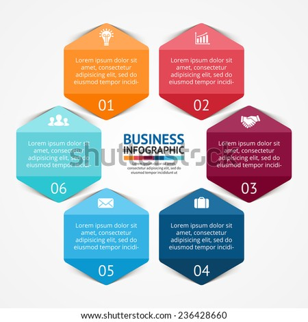 Vector circle hexagon infographic. Template for diagram, graph, presentation and chart. Business concept with 6 options, parts, steps or processes. Abstract background. - stock vector