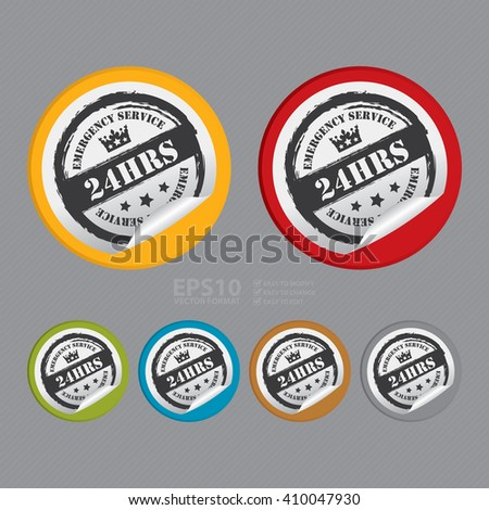 Vector : Circle 24 HRS Emergency Service - Product Label, Campaign Promotion Infographics Flat Icon, Peeling Sticker, Sign - stock vector