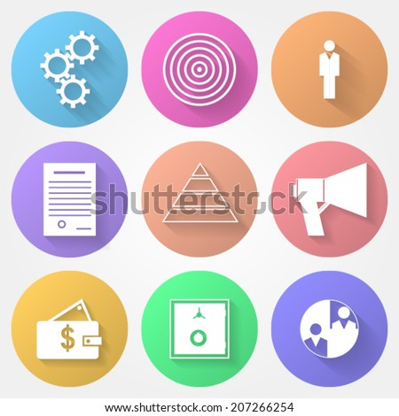 Vector circle icons for outsource. Set of colored circle vector icons with outsource symbols. - stock vector