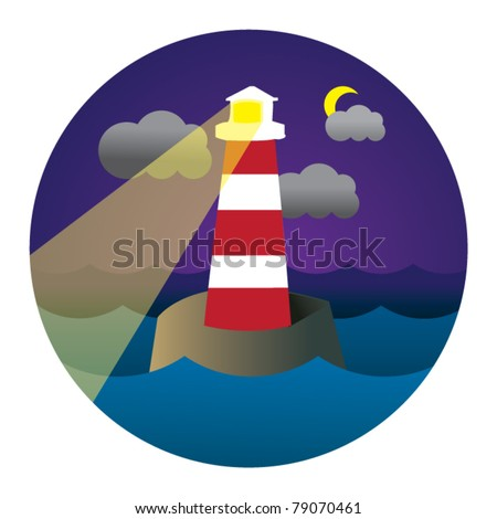 vector circle illustration of lighthouse in waves - stock vector