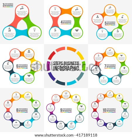 Vector circle infographic. Template for cycle diagram, graph, presentation and round chart. Business concept with 3, 4, 5, 6, 7, 8, 9 and 10 options, parts, steps or processes. Data visualization. - stock vector