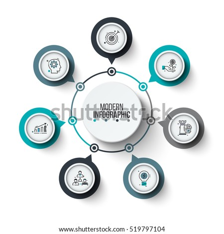Vector circle infographic. Template for cycle diagram, graph, presentation and round chart. Business concept with 7 options, parts, steps or processes. Stroke icons.