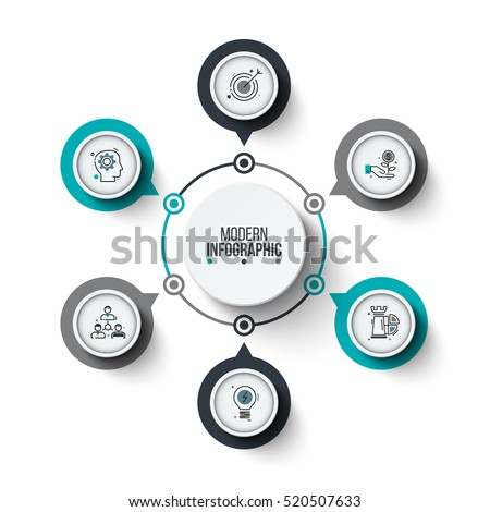 Vector circle infographic. Template for cycle diagram, graph, presentation and round chart. Business concept with 6 options, parts, steps or processes. Stroke icons.