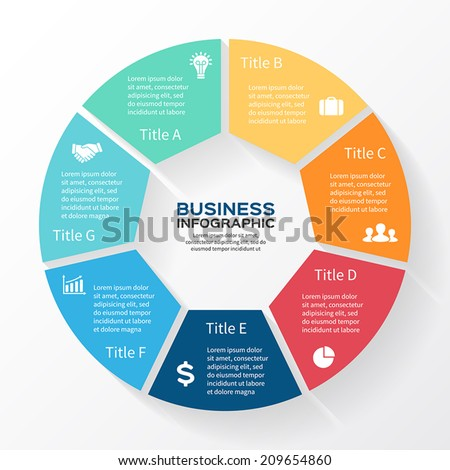 Vector circle infographic. Template for diagram, graph, presentation and chart. Business concept with seven options, parts, steps or processes. Abstract background. - stock vector