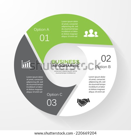 Vector circle infographic. Template for diagram, graph, presentation and chart. Business concept with 3 options, parts, steps or processes. Abstract background. - stock vector