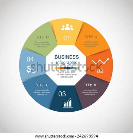 Vector circle infographic. Template for diagram, graph, presentation and chart. Business concept with 4 options, parts, steps or processes. Abstract background.  - stock vector