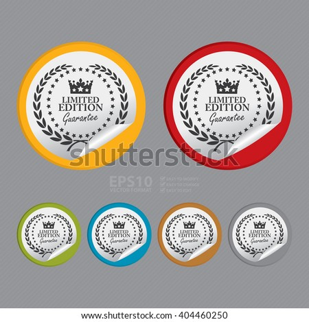 Vector : Circle Limited Edition Guarantee Product Label, Campaign Promotion Infographics Flat Icon, Peeling Sticker, Sign - stock vector