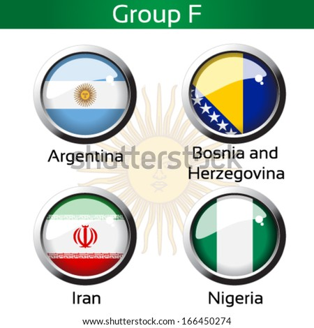 Vector circle metalic flags - football Brazil, group F - Argentina, Bosnia and Herzegovina, Iran, Nigeria - drawing including all details - stock vector