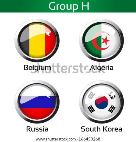 Vector circle metalic flags - football Brazil, group H - Belgium, Algeria, Russia, South Korea - drawing including all details - stock vector