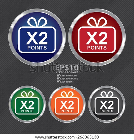 Vector : Circle Metallic x2 Points Label, Sticker, Banner, Sign or Icon - stock vector