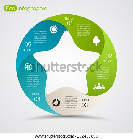 Vector circle nature infographic. Template for eco diagram, graph, presentation and chart. Ecology concept with 5 options, parts, steps or processes. Abstract environmental care background. - stock vector