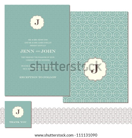 Vector Circle Pattern and Frame Set. Easy to edit. Perfect for invitations or announcements. - stock vector