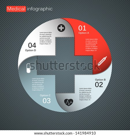 Vector circle plus sign infographic. Template for diagram, graph, presentation and chart. Medical healthcare concept with four options, parts, steps or processes. Abstract background. - stock vector