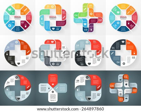 Vector circle plus sign infographic. Template for diagram, graph, presentation and chart. Medical healthcare concept with 4 options, parts, steps or processes. Abstract background. - stock vector