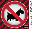 Vector : Circle Prohibited Sign For No Dogs or No Pets Allowed in This Area Sign in Caution Zone Dark and Red Background - stock photo