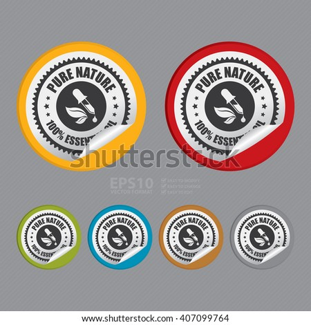Vector : Circle Pure Nature 100% Essential Oil Product Label, Campaign Promotion Infographics Flat Icon, Peeling Sticker, Sign - stock vector