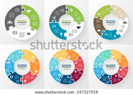 Vector circle puzzle infographic. Template for cycle diagram, graph, presentation and round chart. Business concept with 3, 4, 5, 6, 7, 8 options, parts, steps or processes. Abstract background. - stock vector