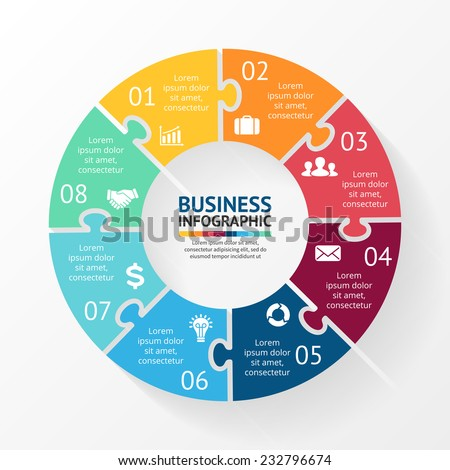 Vector circle puzzle infographic. Template for diagram, graph, presentation and chart. Business concept with 8 cyclic options, parts, steps or processes. Abstract background. - stock vector