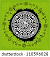 Vector circle reminiscent of the Aztec calendar - stock photo