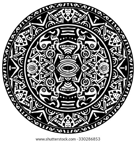 Vector circle reminiscent of the Aztec calendar