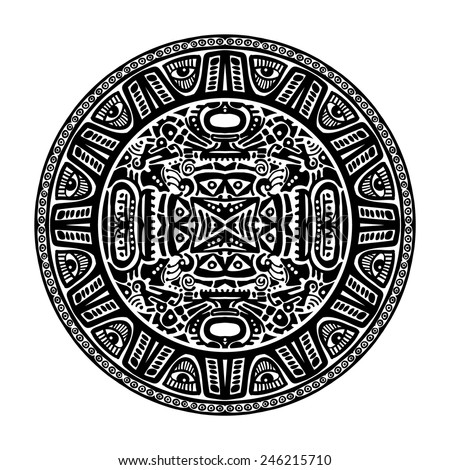 Vector circle reminiscent of the Mayan calendar - stock vector