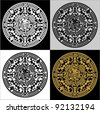 Vector circle reminiscent of the Mayan calendar. Set - stock vector