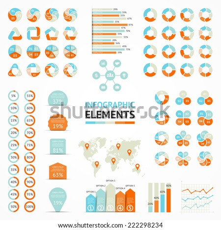 Vector circle ribbons arrows infographic elements set. Template for diagram, graph, presentation and chart. Business concepts with 3, 4, 5, 6 options, parts, steps or processes. Creative info graphic. - stock vector