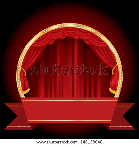 vector circle stage with blank banner
