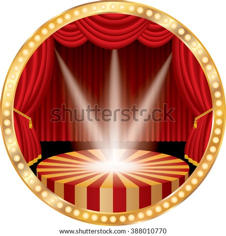 vector circle stage with red curtain, golden frame, bulb lamps and three transparent spotlights - stock vector