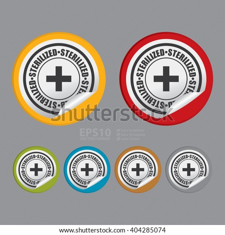 Vector : Circle Sterilized Product Label, Campaign Promotion Infographics Flat Icon, Peeling Sticker, Sign  - stock vector