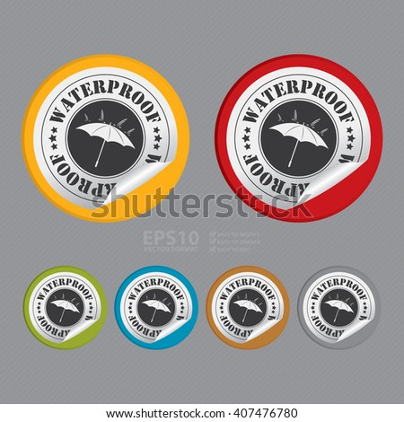 Vector : Circle Waterproof Product Label, Campaign Promotion Infographics Flat Icon, Peeling Sticker, Sign - stock vector