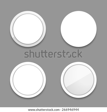 Vector circle white buttons. - stock vector