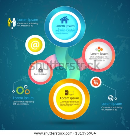 Vector circle  with  icons for business  concepts  / can use for info-graphic / loop business report or plan / modern template / education template / business brochure /  system diagram - stock vector