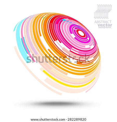 Vector circles - abstract futuristic background (technical style) - stock vector