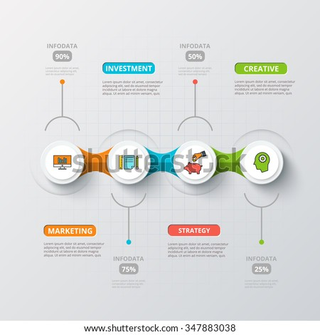 Vector circles for infographic. Template for diagram, graph, presentation and chart. Business concept with 4 options, parts, steps or processes. Abstract background. - stock vector