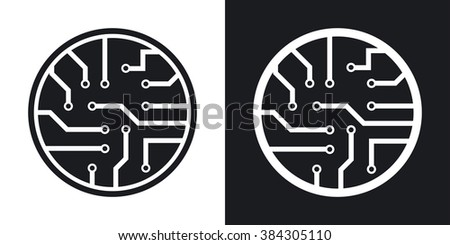 Vector circuit board icon. Two-tone version on black and white background - stock vector