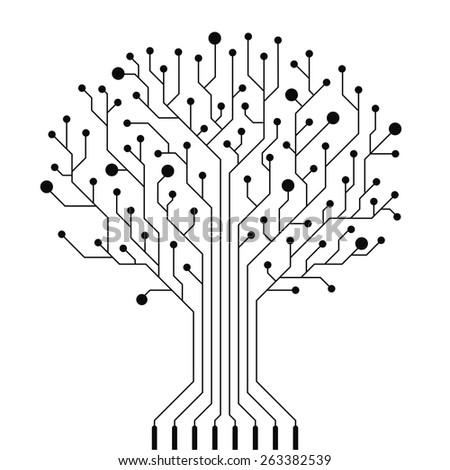 Vector Circuit Board Tree Stock Vector 263382539 - Shutterstock