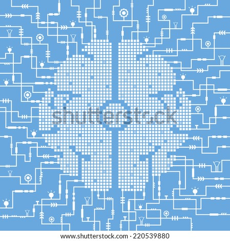 vector circuit electric brain processing technology - stock vector