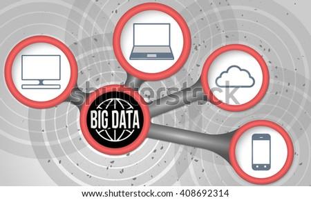 Vector circular boxes and big data icons - stock vector